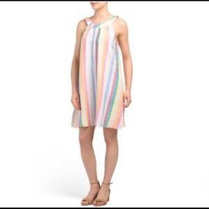 C&C California striped linen halter dress